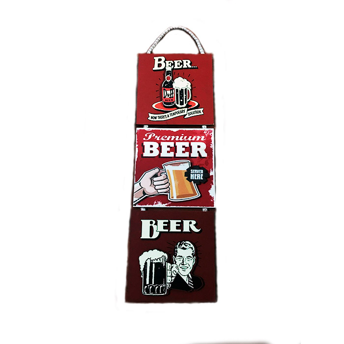 3LÜ AHŞAP 3D KABARTMALI ASKILI TABLO - BEER RETRO TABLO