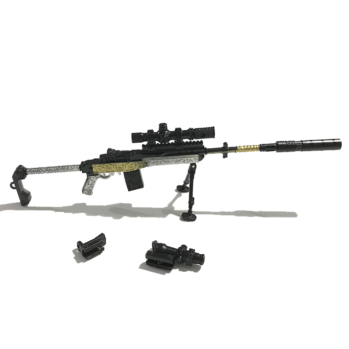 MINI-14 Grey&Gold 25cm Metal Sök-Tak Model Silah